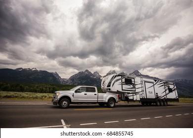 USA, WYOMING, JULY, 2017: RV vehicle in Grand Teton National Park, Wyoming.