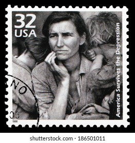 USA-1998: America survives the Depression, issued by USPS in 1998, one of the stamps in 20th century series. Photo by American documentary photographer and photojournalist Dorothea Lange (1895–1965) .