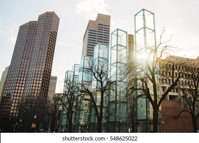 USA,BOSTON, December 27, 2016. The New England Holocaust Memorial. six glass towers on the background of sky and city. each tower symbolizes a different major extermination camp