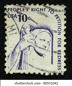 USA-CIRCA 1960:A stamp printed in  United States of America shows image of the Peoples Right to Petition for Redress, circa 1960.