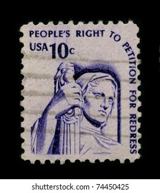 USA-CIRCA 1960:A stamp printed in USA shows image of the right to petition is guaranteed by the First Amendment to the federal constitution, circa 1960.
