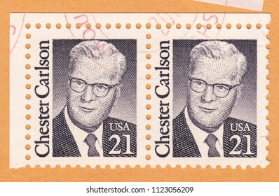 USA-CIRCA 1988: stamp printed by USA, shows Chester Floyd Carlson-American physicist by education, lawyer by profession and inventor, circa 1988