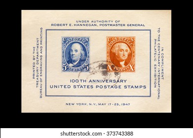 USA-CIRCA 2016 A souvenir postal stamp printed in the United States in 1947 shows Portrait of Benjamin Franklin and George Washington, circa 2016