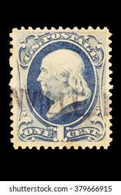 USA-CIRCA 2016 A souvenir postal stamp printed in the United States in 1887 shows Portrait of Benjamin Franklin, circa 2016