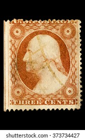 USA-CIRCA 2016 A stamp printed in the United States in 1857 shows Portrait of  President George Washington 1st president of the United States of America, circa 2016.