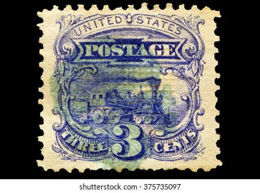 USA-CIRCA 2016 A stamp printed in the United States in 1869 shows a steam locomotive, circa 2016.