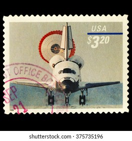 USA-CIRCA 2016 A stamp printed in the United States shows The space shuttle landing , circa 2016.
