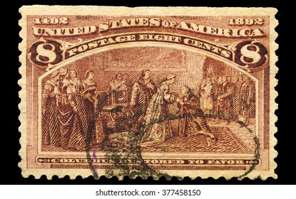 USA-CIRCA 2016 A stamp printed in the United States in 1893 shows Christopher Columbus meets with Queen Isabella of Spain, circa 2016.