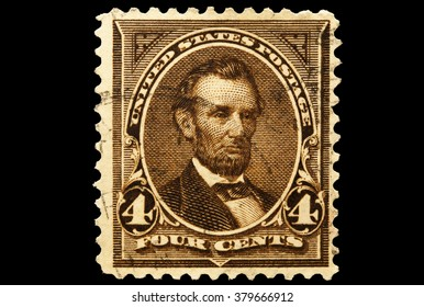 USA-CIRCA 2016 A stamp printed in the United States in 1895 shows Portrait of   Abraham Lincoln 16th president of the United States of America, circa 2016.