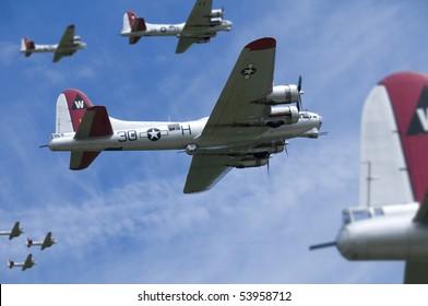 USAF B17s on a daylight bombing raid over Europe.