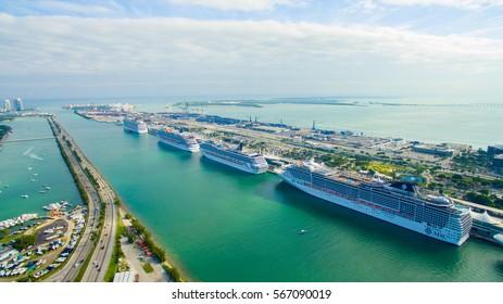USA.FLORIDA. MIAMI BEACH. JANUARY 28, 2017: South Beach. Port Miami. Cruise ship.