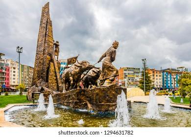 Usak, Turkey - March 13, 2018 : Ataturk statue view in Usak City of Turkey. Ataturk is founder of modern Republic of Turkey.