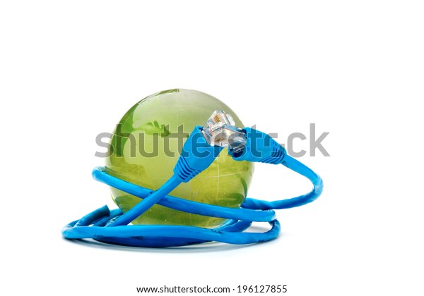 USB cable around globe on white background