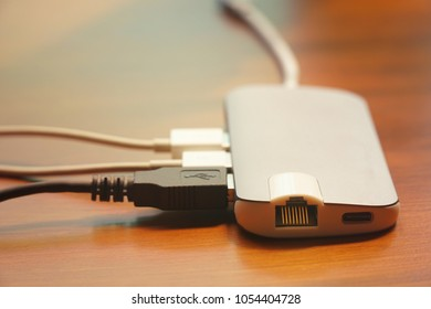 USB cable connect to All in one hub to sync or charge. Technology.