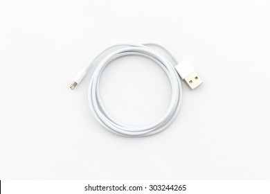 USB cable for smartphone on white background.