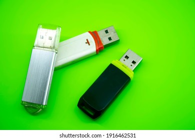 USB computer flash cards memory on green background
