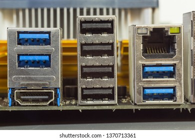 USB connectors on computer motherboard