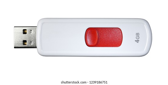 USB flash drive red and white isolated