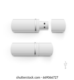 USB Flash Drive Stick Memory Set 3D Illustration Isolated on a White Background