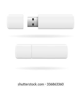 USB Flash Drive White and Empty. illustration