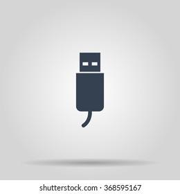 usb icon. Flat design style