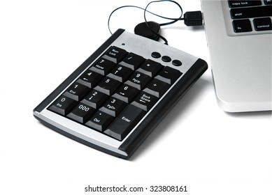 USB Numeric keyboard isolate on white background