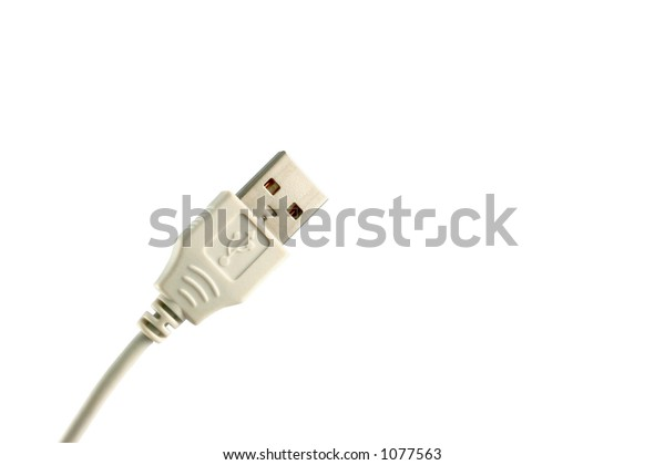 USB on white background.  Hand drawn clipping path included for maximum flexibility.