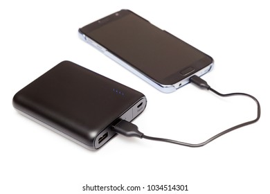 USB Power bank charging smartphone