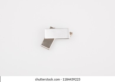 usb silver Usb flash memory isolated on the white background