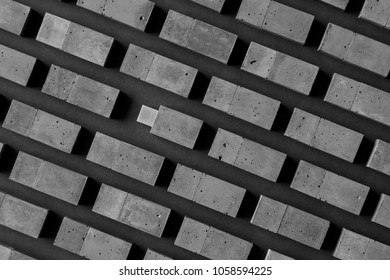 The USB stick made of concrete on a black background.Brutal memory disks of the cement of hand made