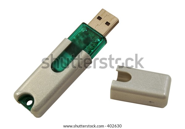 A USB thumb drive isolated on a white background.