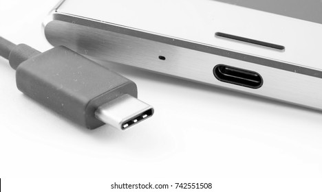 USB Type-C. usb-c cable and smartphone