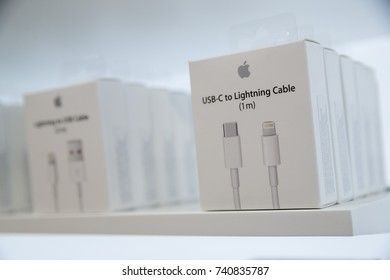 USB-C to Lightning Cable adapters are seen at the new Apple store is seen along the Chicago River, in Chicago, Illinois, U.S., October 19, 2017.