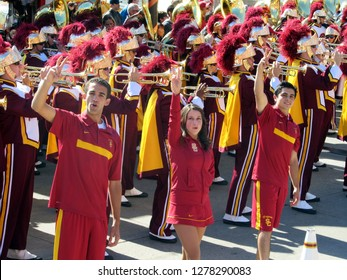 USC Cheerleaders and Trojan Marching Band performing at Navy Pier, Chicago the day prior to Notre Dame's homecoming game, October 21, 2011