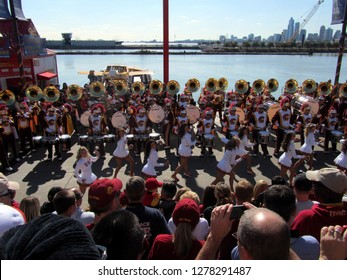 USC Southern Cal California Marching Band and Song Cheerleaders performing at Navy Pier, Chicago the day prior to Notre Dame's homecoming game, October 21, 2011