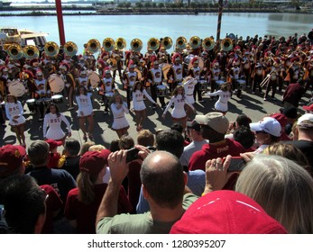 USC Southern Cal California Marching Band and Song leaders or Cheerleaders performing at Navy Pier, Chicago the day prior to Notre Dame's homecoming game, October 21, 2011