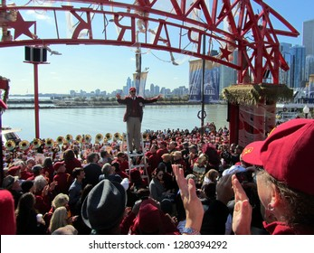 USC University of Southern California band director at Navy Pier conducting the marching band, Chicago the day prior to Notre Dame's homecoming game, October 21, 2011