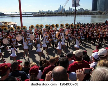 USC University of Southern California Marching Band and Song Leaders performing at Navy Pier, Chicago the day prior to Notre Dame's homecoming game, October 21, 2011