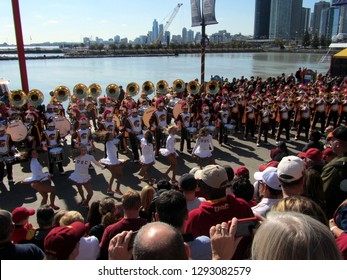 USC University of Southern California Song Leaders and the Marching Band performing at Navy Pier, Chicago the day prior to Notre Dame's homecoming game, October 21, 2011