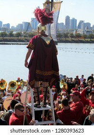 USC University of Southern California Trojan Mascot at Navy Pier conducting the marching band, Chicago the day prior to Notre Dame's homecoming game, October 21, 2011
