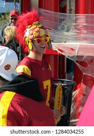 USC University of Southern California Trojan Fan Dressed up at Navy Pier, Chicago the day prior to Notre Dame's homecoming game, October 21, 2011