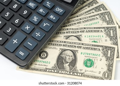 usd bank note and calculator