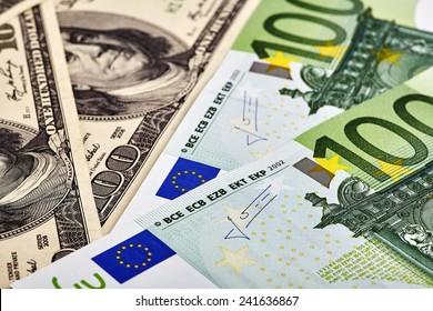 USD EUR banknotes
