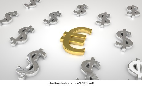 USD euro in middle currency symbols in high resolution
