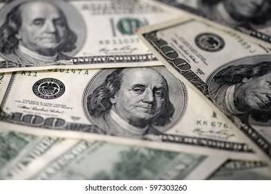 USD hundred dollar bills background