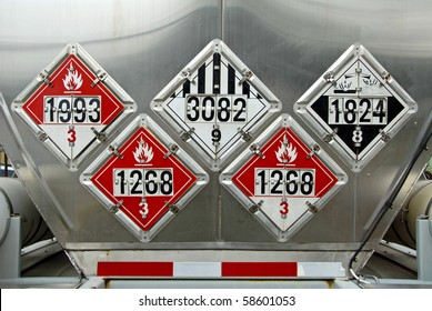 USDOT Hazardous Materials Transportation Placards on rear of a Fuel Tanker