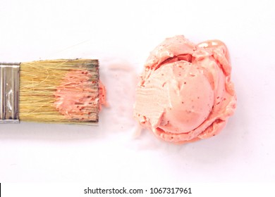 Use a brush to take some pink ice cream as a color