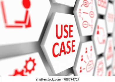 USE CASE concept cell blurred background 3d illustration