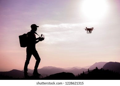 use of drone in mountains, piloting and media work