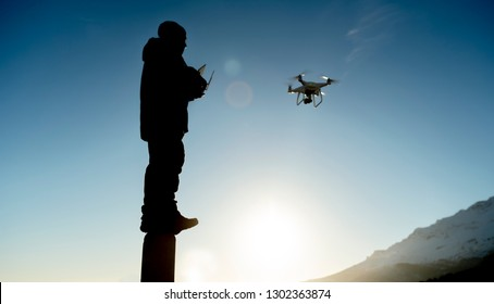 use of drone in spectacular landscapes, lakes and mountains